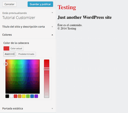 Theme Customizer Admin Page Color Testing
