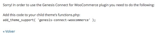 Advertencia Plugin Genesis Connect Woocommerce